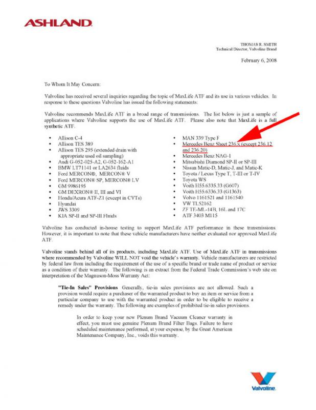 Valvoline MaxLife ATF vs  MB ATF - Page 6 - Mercedes-Benz Forum