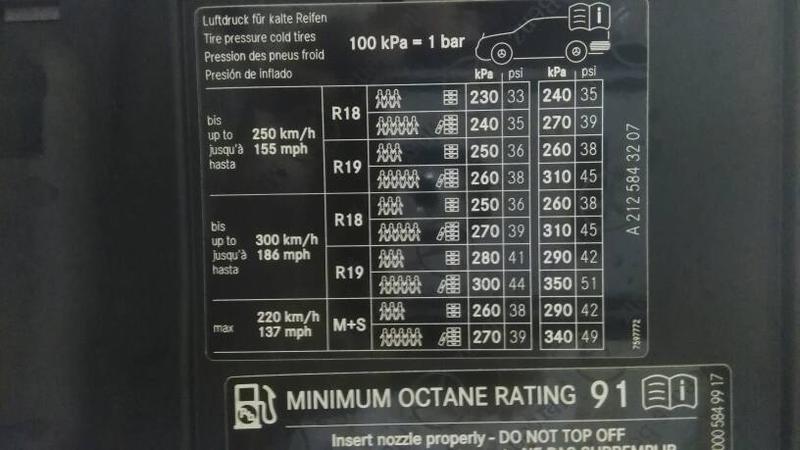 2011 E350 Tire Pressure Page 2 Mercedes Benz Forum
