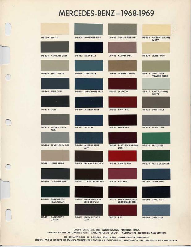 Original Colorsbrochures For 8 Models Mercedes Benz Forum