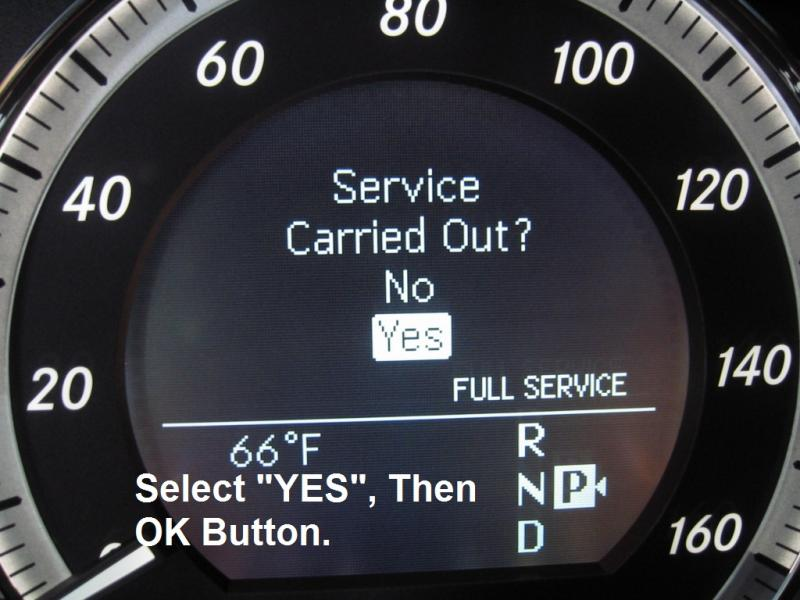 Resetting Service B Message Mercedes