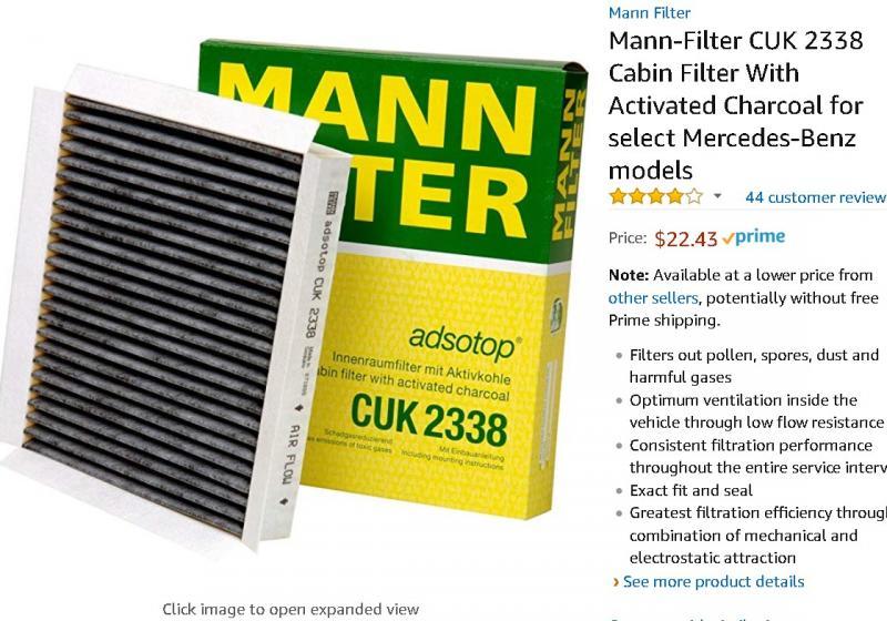 Cabin Air Filter MANN CUK 2338
