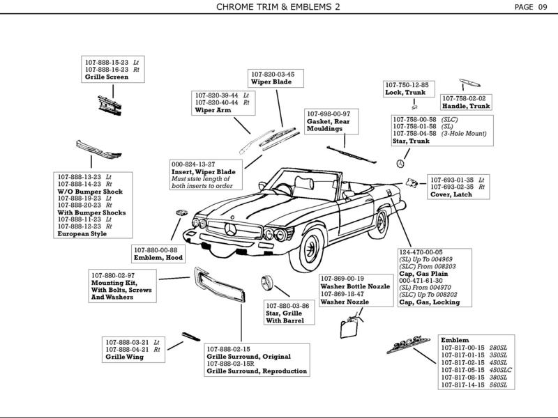 Some r107 parts and numbers mercedes benz forum for Mercedes benz 560sl parts catalog