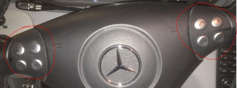 Phone audio control buttons on steering wheel mercedes for Mercedes benz steering wheel control buttons