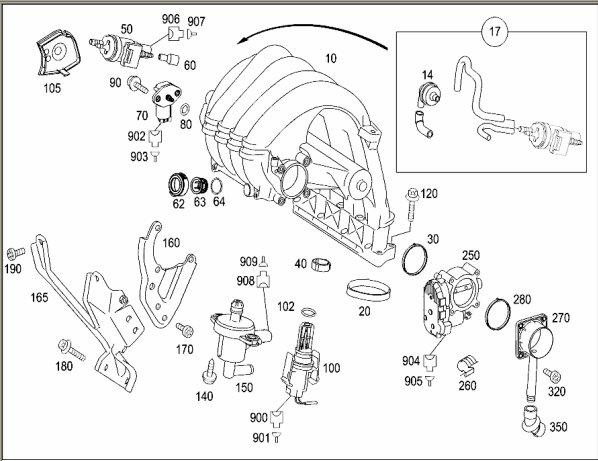 location of mass air flow sensor mercedes benz forum. Black Bedroom Furniture Sets. Home Design Ideas
