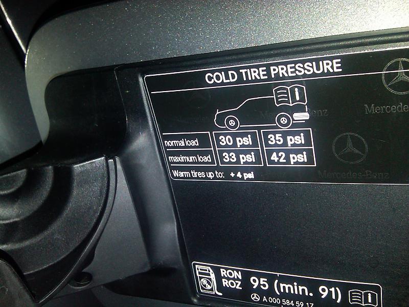 E350 tire pressure mercedes benz forum for Mercedes benz e350 tire size