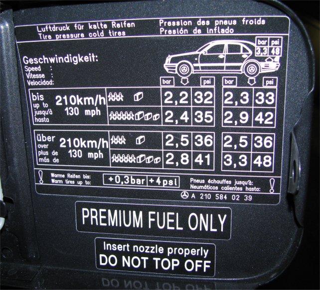 Correct Tire Pressure Mercedes E