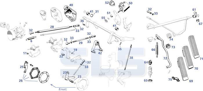 280sl W113 - Throttle Linkage Bearings