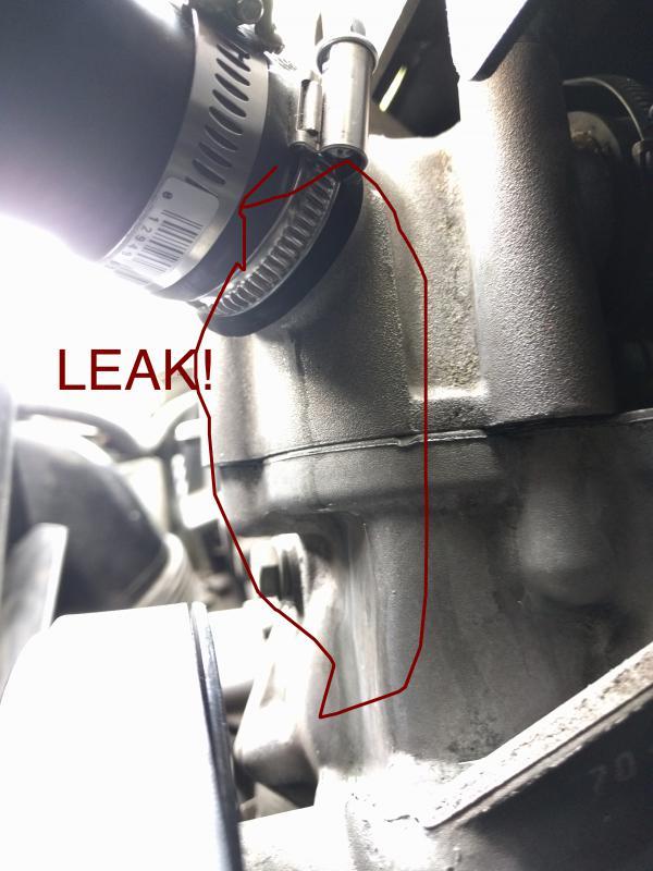 Pic  Strange Upper Radiator Hose Leak  1997 E420  Master