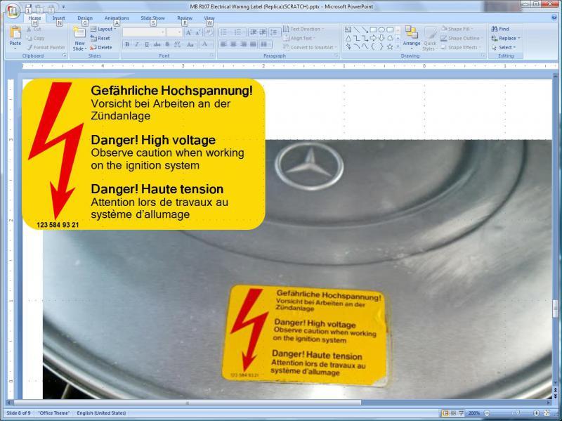 D Labels Decals Make Label Powerpoint on Mercedes 380sl Engine