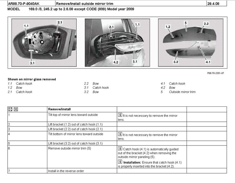 W245 B Class Wing Mirror Disassembly Help Mercedes Benz