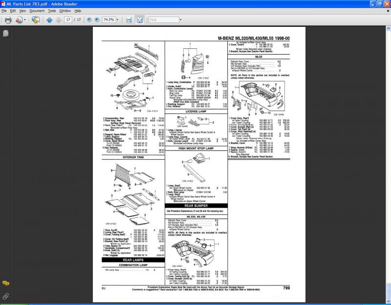 ml parts list mercedes benz forum