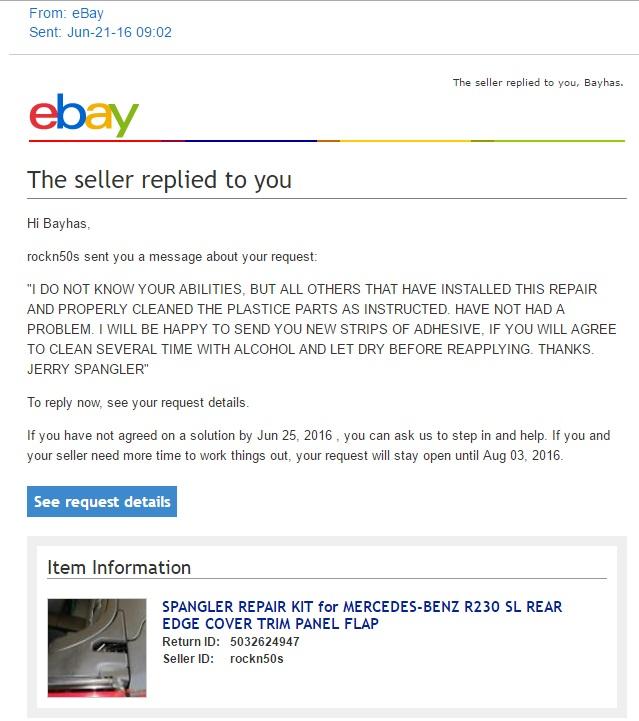 SPANGLER REPAIR KIT for MERCEDES-BENZ R230 SL REAR EDGE COVER TRIM PANEL FLAP