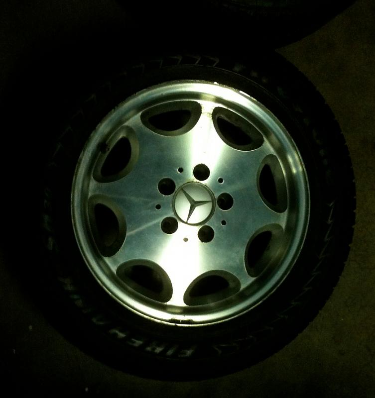 "Mercedes Benz 8-hole rims, 7x15"", including tires, 