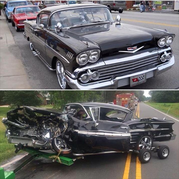 Ot  1958 Chevy Impala Vs Honda Civic     Head On Crash
