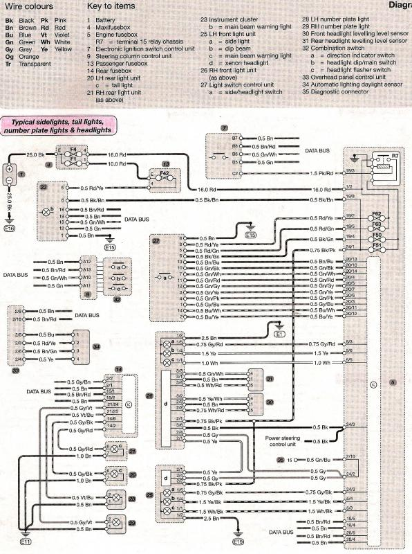 wiring diagram -side/tail/number plate/ headlights - mercedes-benz, Wiring diagram