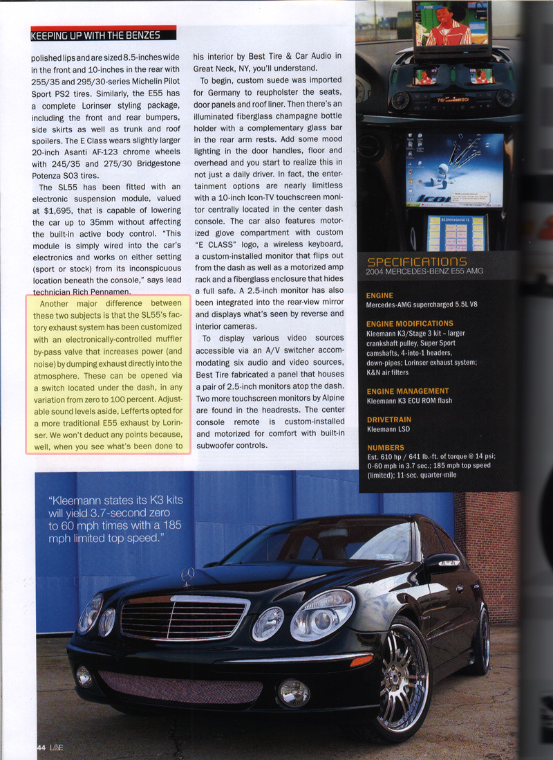 Exhaust cut outs E55 Mod? - Mercedes-Benz Forum