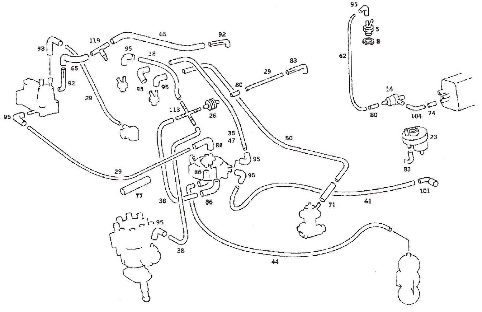 3vze vacuum line diagram vacuum timing advance problem on an  81 380sel mercedes benz forum  mercedes benz forum