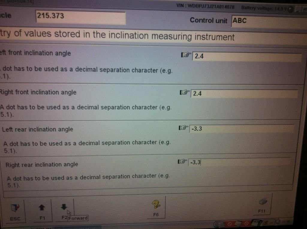 Stock 2001 CL55 ABC level calibration values   Mercedes-Benz