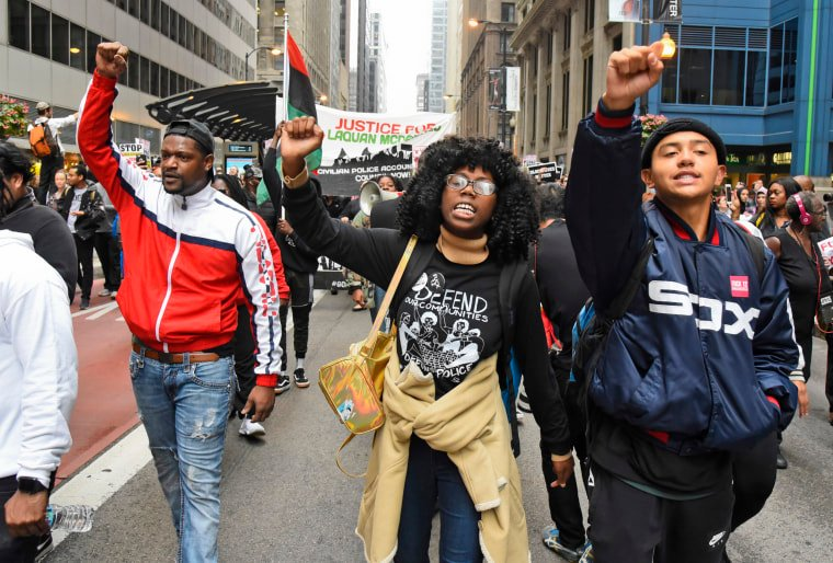 Image: Protesters take to the streets after a jury convicted white Chicago police Officer Jason Van Dyke of second-degree murder in the 2014 shooting of black teenager Laquan McDonald on Oct 5, 2018, in Chicago.