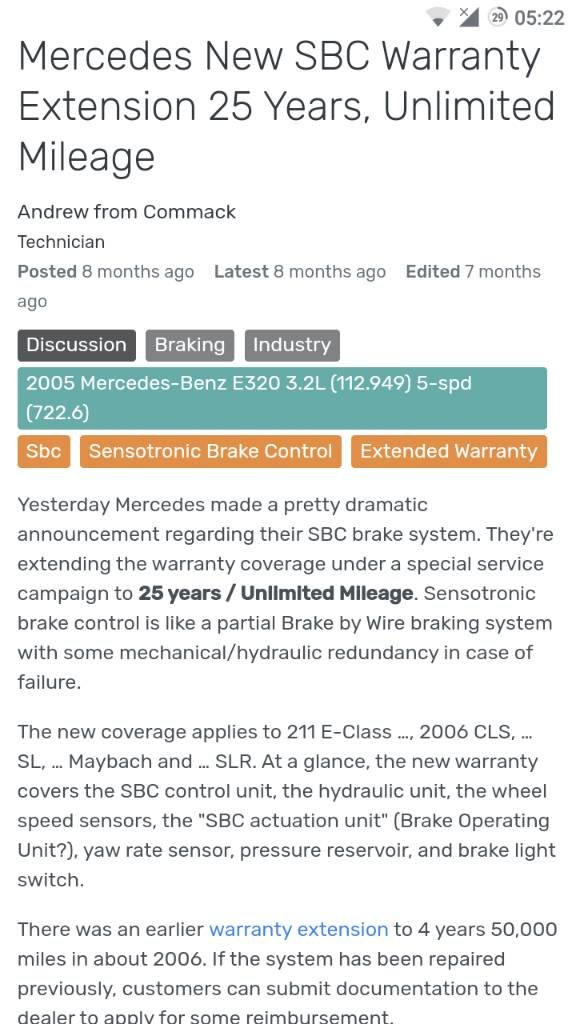SBC issue, guidelines on fixing | Mercedes-Benz Forum